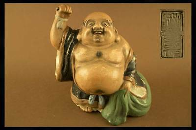 RARE Old CHINESE JAPANESE Ceramic Clay HOTEI LAUGHING Lucky BUDDHA Statue