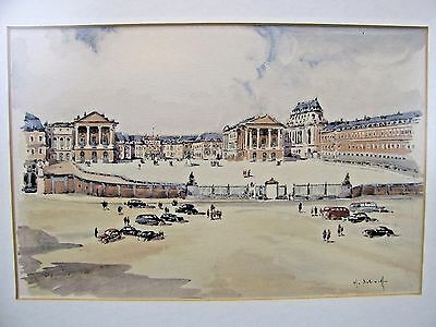 1938 Watercolor Painting of Versailles by Henri Alexis Schaeffer (1900-1975)