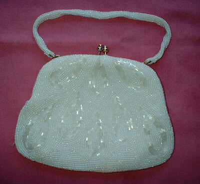 White Pearl Covered Bridal or Prom Purse With Pearl Covered Beaded Handle EUC