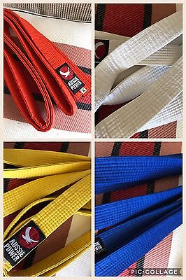 4 USED blue orange white yellow Taekwondo Martial Arts Karate Belts