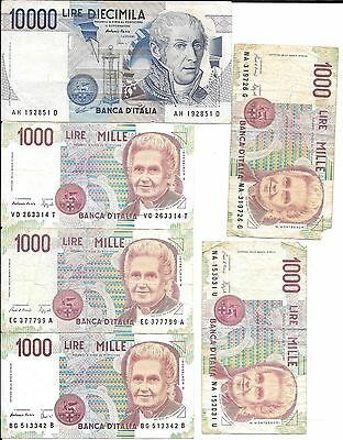 Multiple Italian Lire Notes 6 Different Assorted Notes 15,000 Lire Total Diecimi