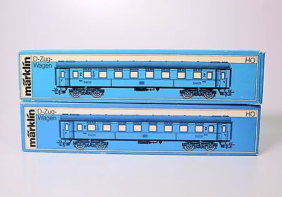 VINTAGE BOXED MARKLIN EXPRESS COACH HO SCALE TRAIN CAR#4037 (set of two)