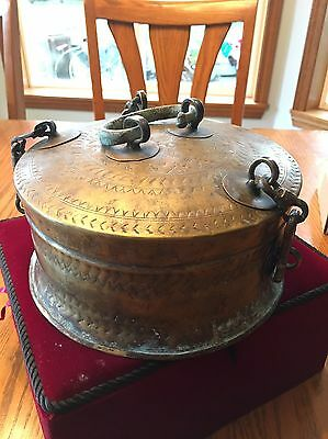 1800s Islamic Carved Brass Nut And Dried Fruit Box Pandan