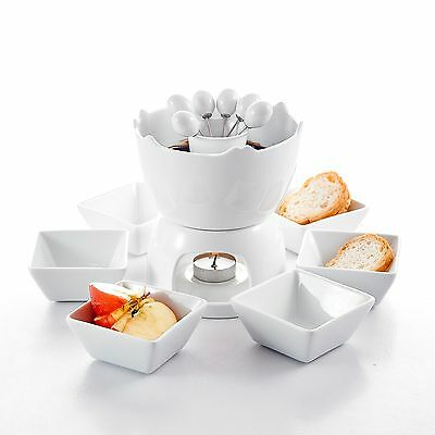Ceramic Porcelain Tealight Chocolate Fondue Sets w/Pot 6 Dipping Bowl 6 Fork