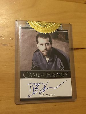 Game of Thrones Season 2 D B Weiss, Execustive Producer incentive autograph card