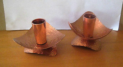 Hand Made Beaten Copper Candle Holders-  Vintage