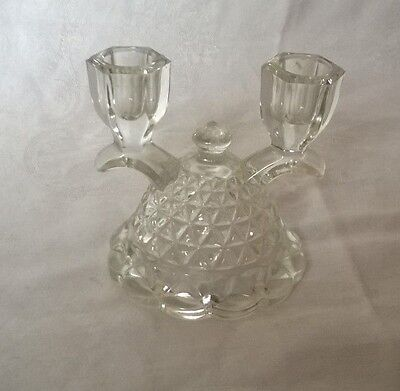 Vintage Glass Double Candelabra Candle Holders Antique Glassware
