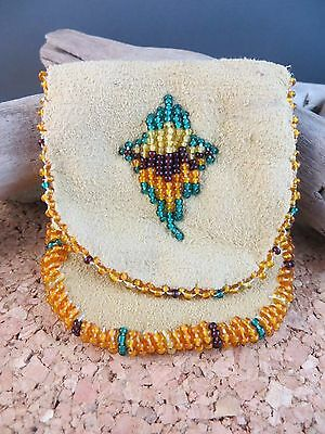 Estate Find Vintage Native American Beaded Leather Bag Coin Pouch Orange Green
