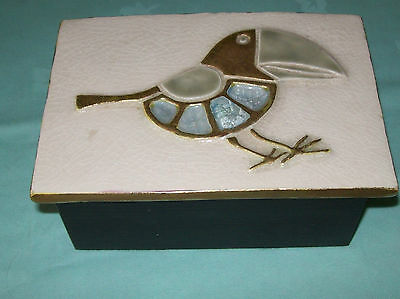Quirky ,Collectable Box ,Art Pottery Ceramic Lid,Bird  Design top ,Hand Crafted,