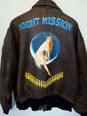 Vtg AVIREX A-2 'Night Mission' Flight Leather Jacket Size Large