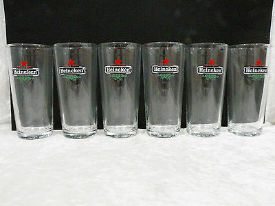 Boxed Set of 6 Heineken Beer Glasses 425ml (straight sides) vgc, by Crown Glass