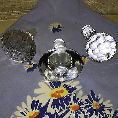 3 Large Antique Glass Stoppers Decanters Bottles Apothecary Replacements #6
