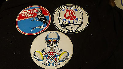 """1970S VINTAGE 3 GRATEFUL DEAD 5"""" LARGE DECAL STICKERs UNUSED CONDITION"""
