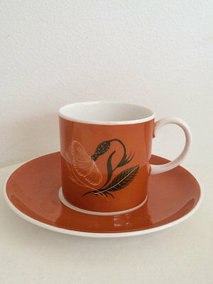 Susie Cooper Burnt Orange Dandelions Coffee Can Demitasse Cup and Saucer 1950