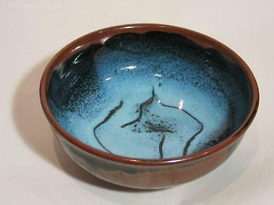 Large Blue Glazed Stoneware Bowl, Dated '87. David Taylor ? Australian Pottery