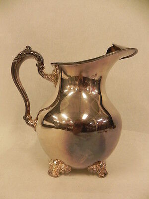 Antique Poole Silver Co Epca Footed Ornate Pitcher Creamer Covered Spout