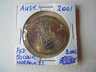 Australian 2001 Federation 50 cent coin Norfolk is.