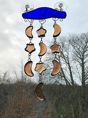 Moons And Stars Stained Glass Suncatcher Mobile Window Decoration