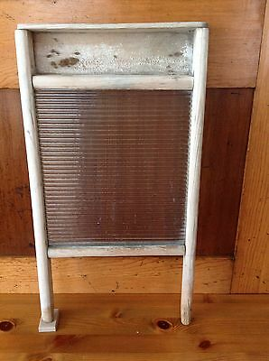 Vintage Wooden and Rippled Glass Washboard