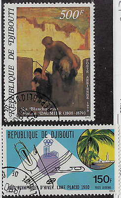 DJIBOUTI CTO Scott # C127- C128 Painting & Olympics - remnants (2 Stamps)