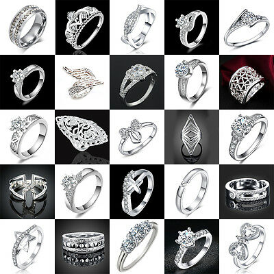 Fashion Women 925 Silver-plated Crystal Jewelry Filled Wedding Engagement Ring