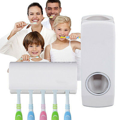 Distributeur automatique de dentifrice + 5 porte-brosse à dents