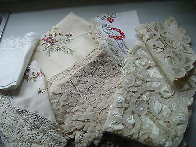 Bulk 7 Doilies & Runners-Mostly Cream/embroid/lace-In Excellent Condition