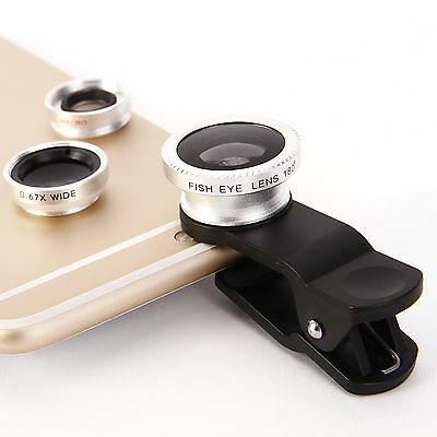 3in1 Fish Eye Wide Angle Macro Camera Clip-on Lens for iPhone 7 6s 6 Plus 5S
