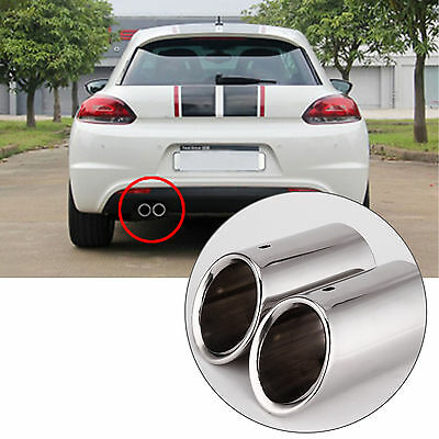 Pair Stainless Steel Chrome Exhaust Tail Rear Muffler Tip Pipe For Audi A4 B8 Q5