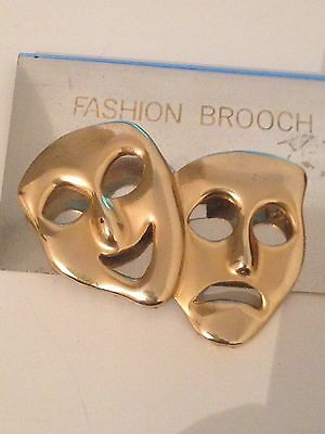 Vintage Gold Tone Comedy & Tragedy Pin Brooch 1980's