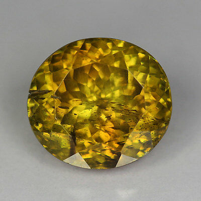 "3.75Cts""Spain"" Yellowish Green "" Oval Cut ""Rare Natural"" Sphalerite "" 2p953"