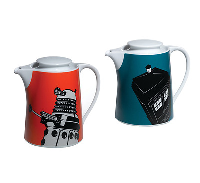Teapot Doctor Who Blue Tardis or Orange Dalek BBC Official Home Kitchen Use New