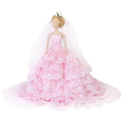 Wedding Bridal Party Princess lace Dress Gown clothes for Barbie Doll Pink