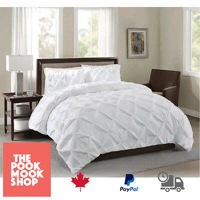 White Duvet Cover BEDDING SET [Doona Quilt BED] Diamond Pinch Pleated Queen King