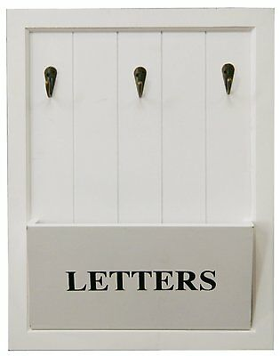 White Wooden Letter Rack With 3 Keys Metal Hooks Holder MDF Wall Mounted New