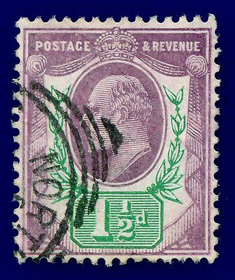 1905 SG224 1½d Slate Purple & Blue-Green (CSP) M9(2) Fine Used Cat £22
