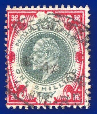 1902 SG257 1s Dull Green & Carmine M45(1) Fine Used Cat £40 Registered Mark Lane