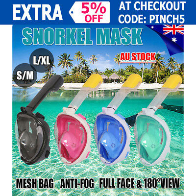 Full Face Swimming Snorkel Mask Scuba Diving Snorkelling Easy Breath For GoPro