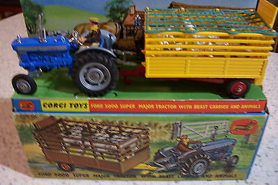 CORGI Gift Set 1 Ford 5000 Super Major Tractor with Beast Carrier & Animals MIB