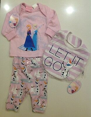 Peter Alexander  Baby Girls Disney  Frozen Set Size 0/3 Months With Matching Bib