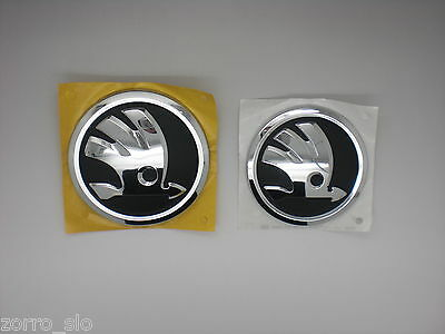 PAIR GENUINE SKODA OCTAVIA II MK2 REAR TAILGATE BOOT and FRONT GRILLE BADGE LOGO