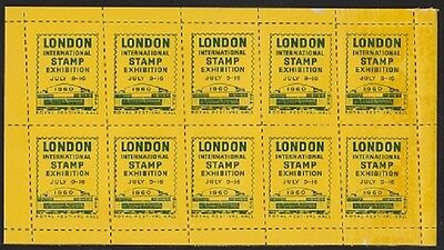 GB. 1960. Royal Festival Hall Stamp Exhibition Yellow Souvenir Stickers. Good.