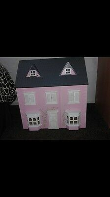 Pink Dolls House With Furniture
