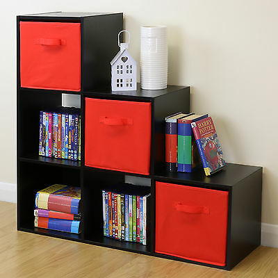 Black 6 Cube Kids Toy/Games Storage Unit Girls/Boys Bedroom Shelves 3 Red Boxes