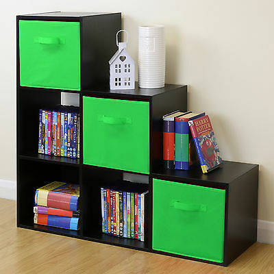 Black 6 Cube Kids Toy/Games Storage Unit Girls/Boys Bedroom Shelves 3 Green Box