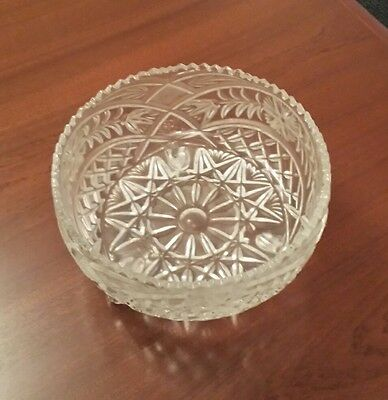 Heavy Cut, 3 footed Vintage Crystal Bowl, excellent condition