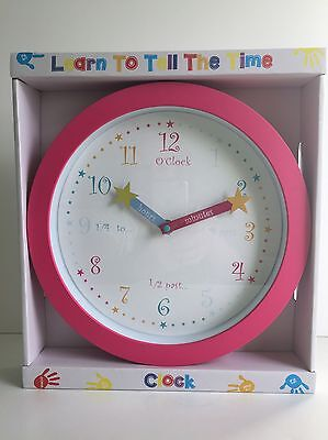 * NEW EDUCATIONAL CHILDREN BRIGHT LEARN TO TELL THE TIME round pink wall clock .