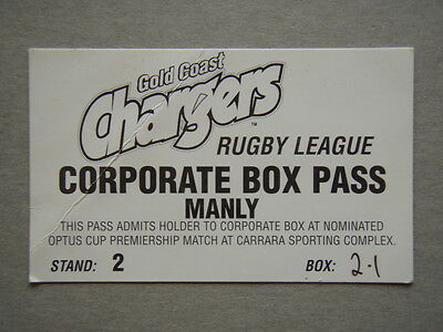 Gold Coast Chargers Rugby League Corporate Box Pass Manly Carrara Sport Complex