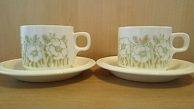 2x HORNSEA POTTERY ENGLAND FLEUR TEACUPS AND SAUCERS Vintage Retro Collectable