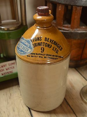 Vintage Old Stoneware Flagon Stantons Ginger Beer Accrington with Label